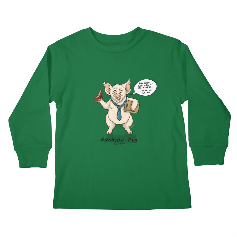 Fashion Pig  Kids Longsleeve T-Shirt by Pigment World Artist Shop