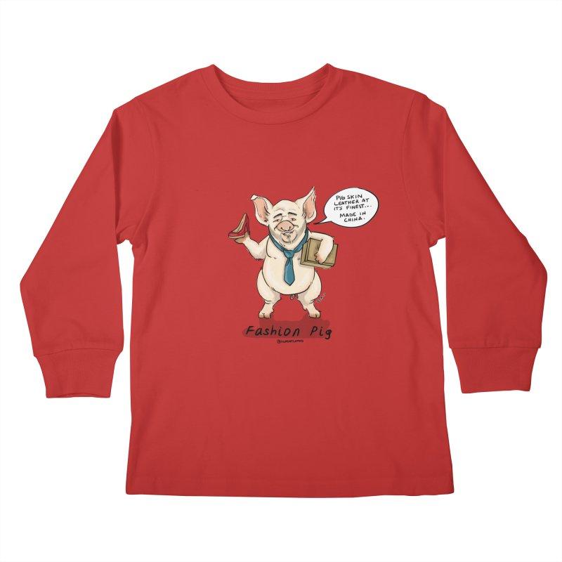 Fashion Pig  Kids Longsleeve T-Shirt by Pigment World Artist Shop