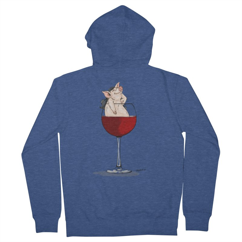 Wine Night  Women's French Terry Zip-Up Hoody by Pigment World Artist Shop