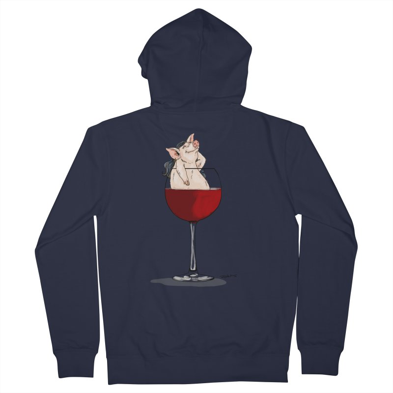 Wine Night  Women's Zip-Up Hoody by Pigment World Artist Shop