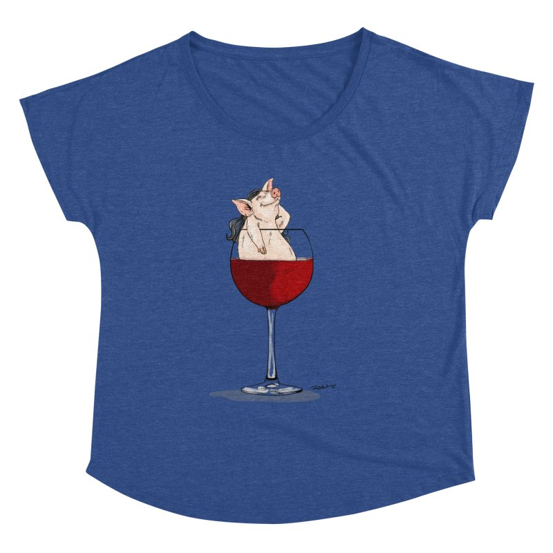 Wine Night  Women's Scoop Neck by Pigment World Artist Shop