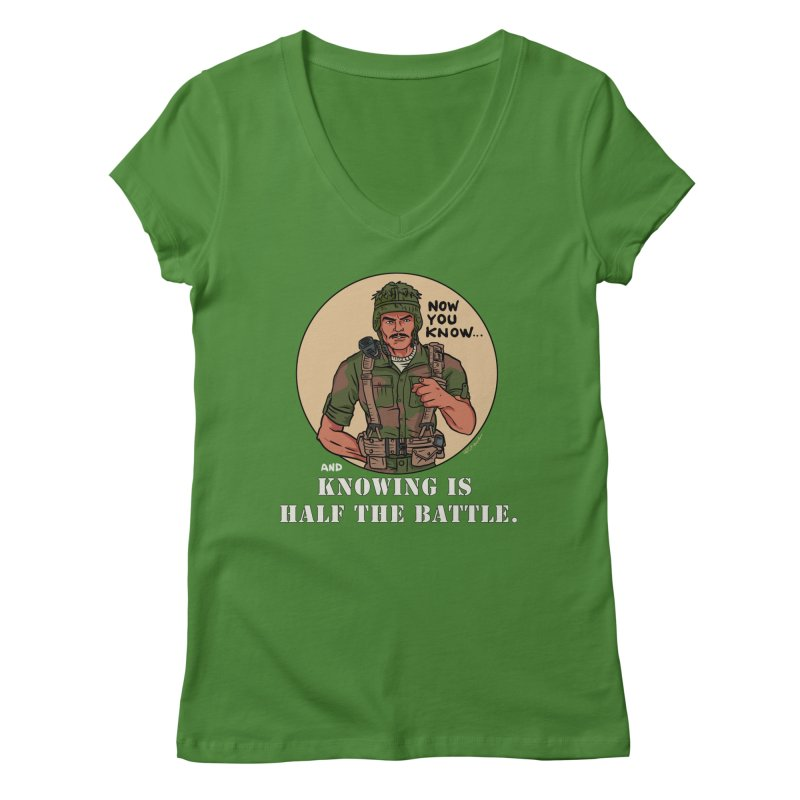 Knowing is Half The Battle Women's Regular V-Neck by Pigment World Artist Shop