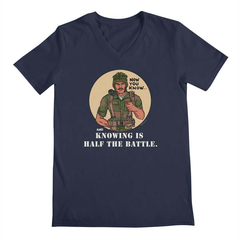 Knowing is Half The Battle Men's Regular V-Neck by Pigment World Artist Shop