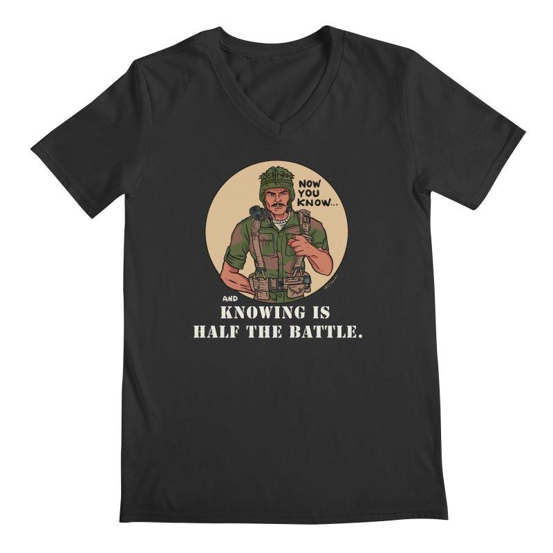 Knowing is Half The Battle Men's Regular V-Neck by Pigment World Artist Shop