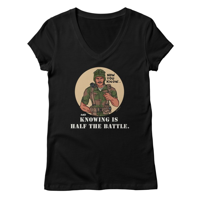 Knowing is Half The Battle Women's V-Neck by Pigment World Artist Shop