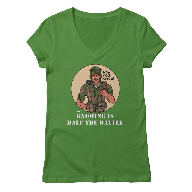 Knowing is Half The Battle Women's Regular V-Neck by Pigment World Artist Shop