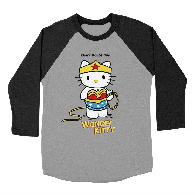 Wonder Kitty Women's Baseball Triblend Longsleeve T-Shirt by Pigment World Artist Shop