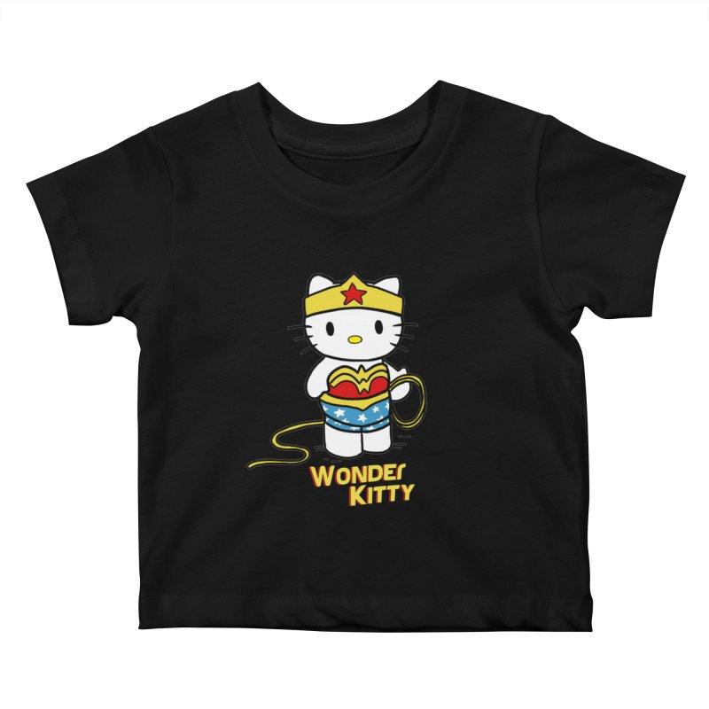 Wonder Kitty Kids Baby T-Shirt by Pigment World Artist Shop