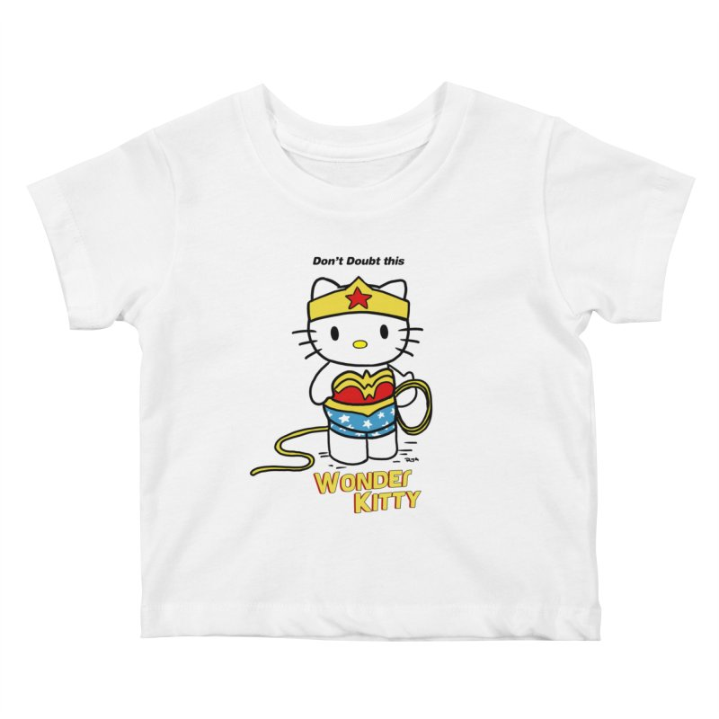 Wonder Kitty Kids Baby T-Shirt by Pigment World Artist Shop