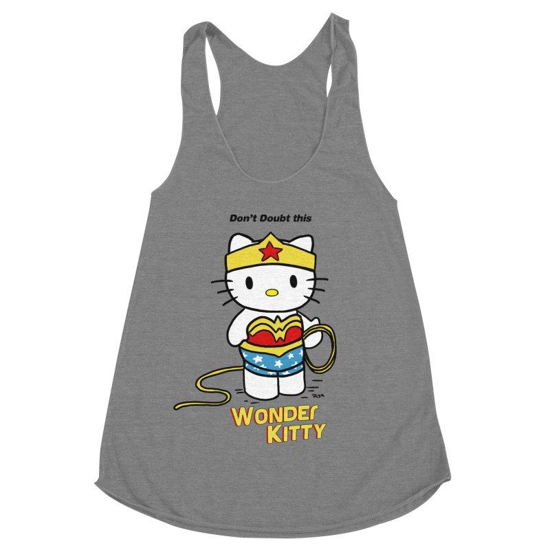 Wonder Kitty Women's Racerback Triblend Tank by Pigment World Artist Shop