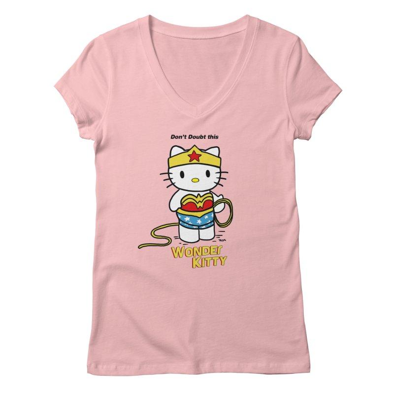 Wonder Kitty Women's Regular V-Neck by Pigment World Artist Shop