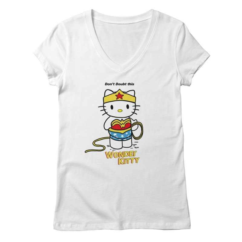 Wonder Kitty Women's Regular V-Neck by Pigment World Artist Shop