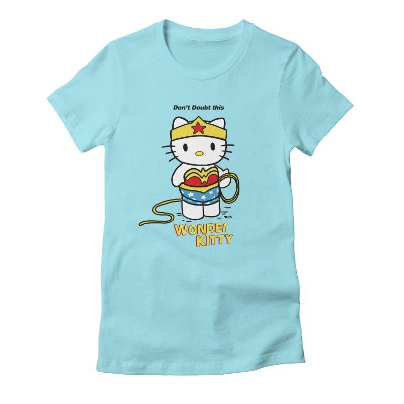 Wonder Kitty Women's Fitted T-Shirt by Pigment World Artist Shop
