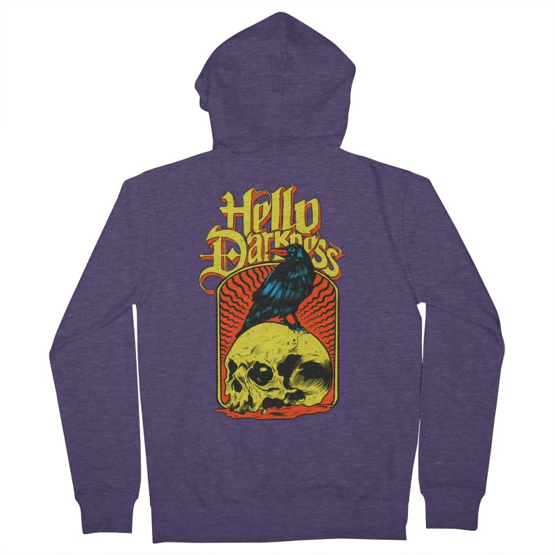 Hello Darkness Men's French Terry Zip-Up Hoody by RJ Artworks's Artist Shop