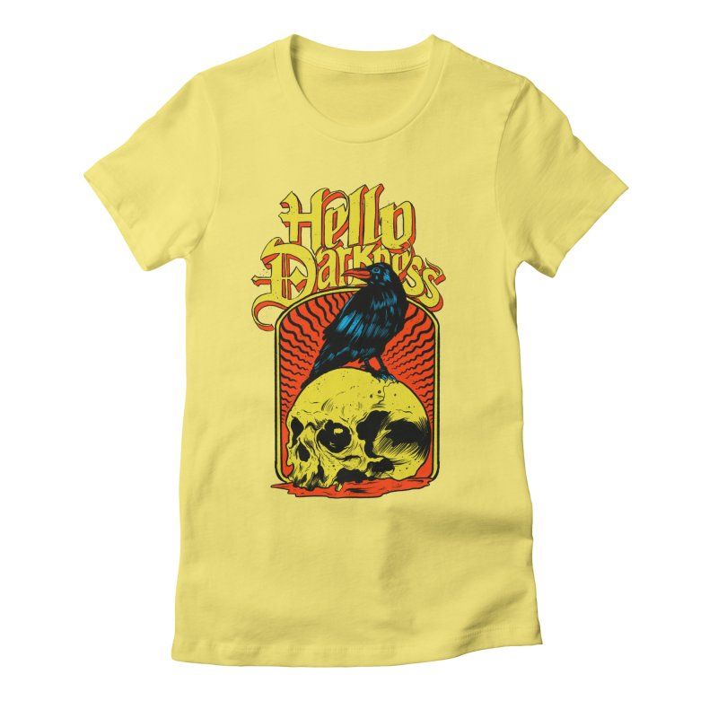 Hello Darkness Women's Fitted T-Shirt by RJ Artworks's Artist Shop
