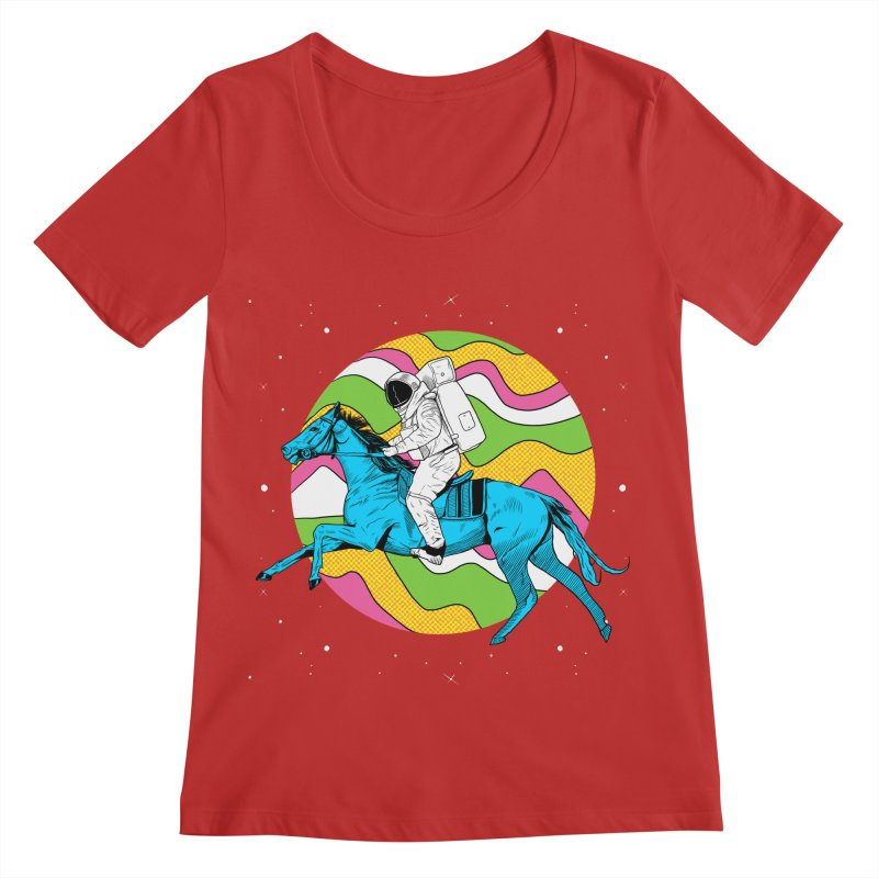 Space Cowboy Women's Regular Scoop Neck by RJ Artworks's Artist Shop