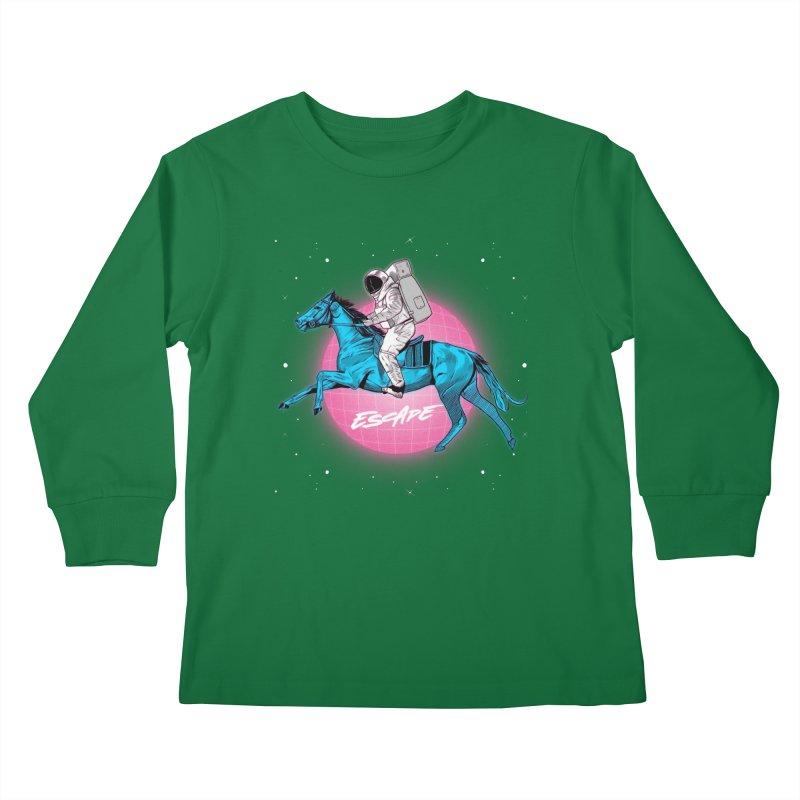 Retro Space Escapade Kids Longsleeve T-Shirt by RJ Artworks's Artist Shop