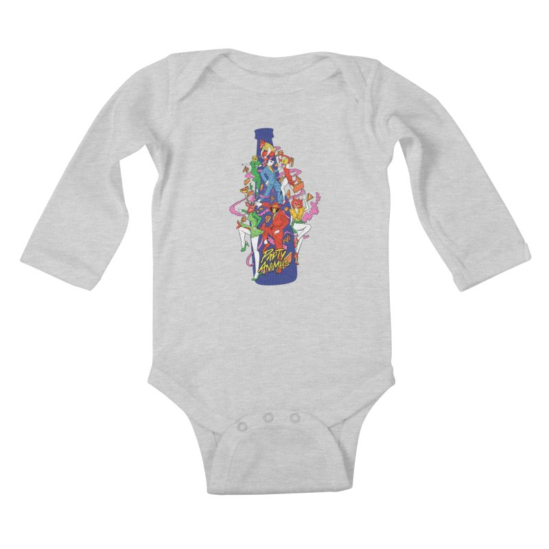 Party Animals Kids Baby Longsleeve Bodysuit by RJ Artworks's Artist Shop