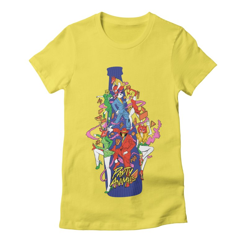 Party Animals Women's Fitted T-Shirt by RJ Artworks's Artist Shop
