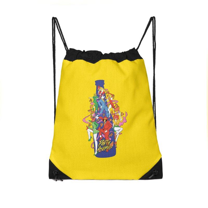 Party Animals Accessories Drawstring Bag Bag by RJ Artworks's Artist Shop