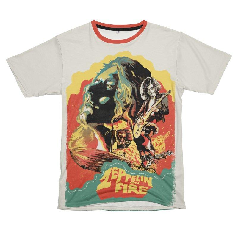 Zeppelin on Fire Men's T-Shirt Cut & Sew by RJ Artworks's Artist Shop