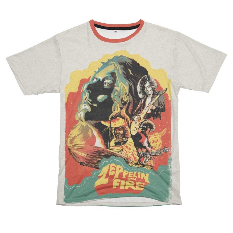 Zeppelin on Fire Women's Unisex French Terry T-Shirt Cut & Sew by RJ Artworks's Artist Shop
