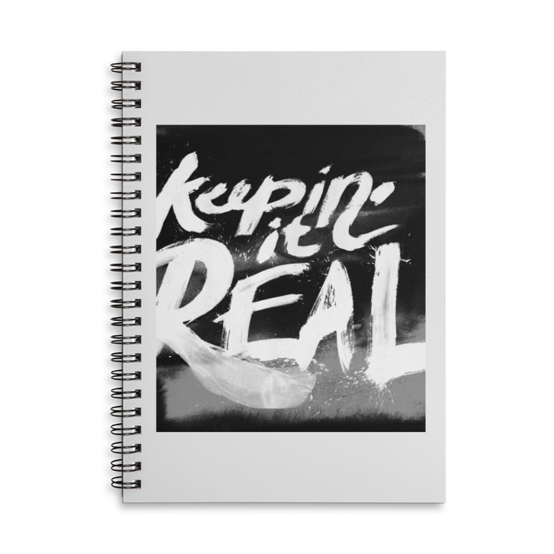 Keepin' it Real - Black & White Accessories Lined Spiral Notebook by RJ Artworks's Artist Shop