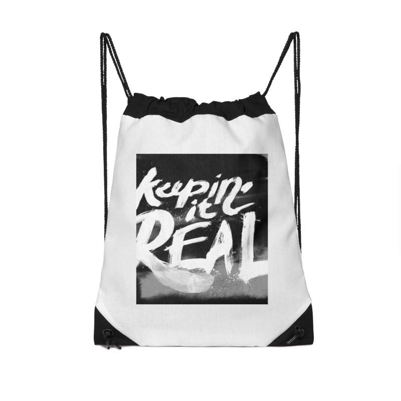 Keepin' it Real - Black & White Accessories Drawstring Bag Bag by RJ Artworks's Artist Shop