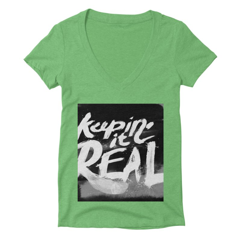 Keepin' it Real - Black & White Women's Deep V-Neck V-Neck by RJ Artworks's Artist Shop