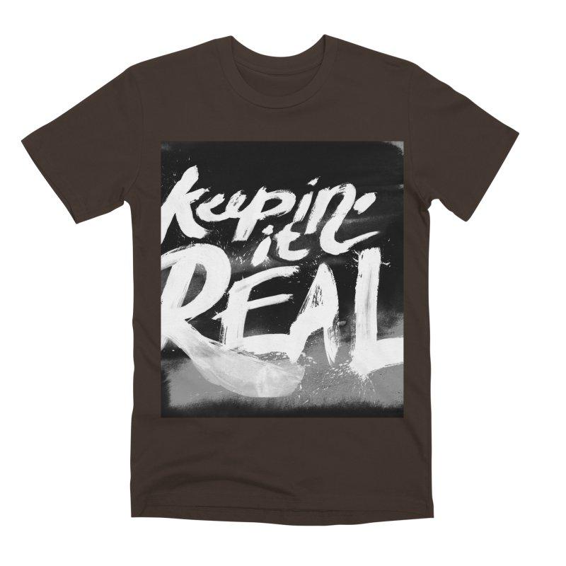 Keepin' it Real - Black & White Men's Premium T-Shirt by RJ Artworks's Artist Shop