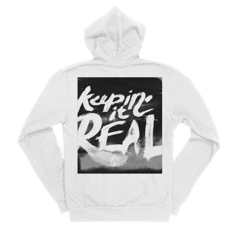 Keepin' it Real - Black & White Men's Sponge Fleece Zip-Up Hoody by RJ Artworks's Artist Shop