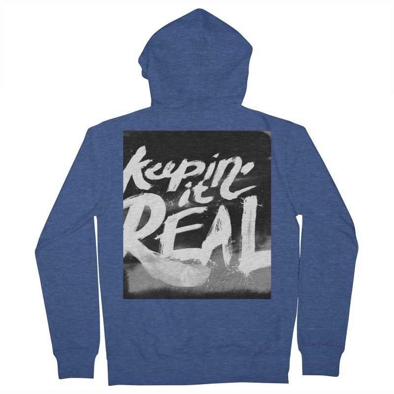 Keepin' it Real - Black & White Women's French Terry Zip-Up Hoody by RJ Artworks's Artist Shop