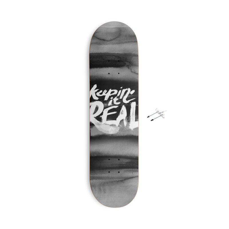 Keepin' it Real - Black & White Accessories With Hanging Hardware Skateboard by RJ Artworks's Artist Shop