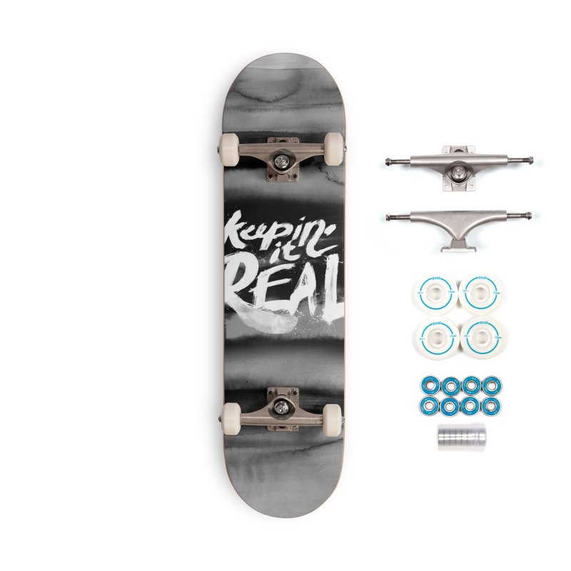 Keepin' it Real - Black & White Accessories Complete - Basic Skateboard by RJ Artworks's Artist Shop