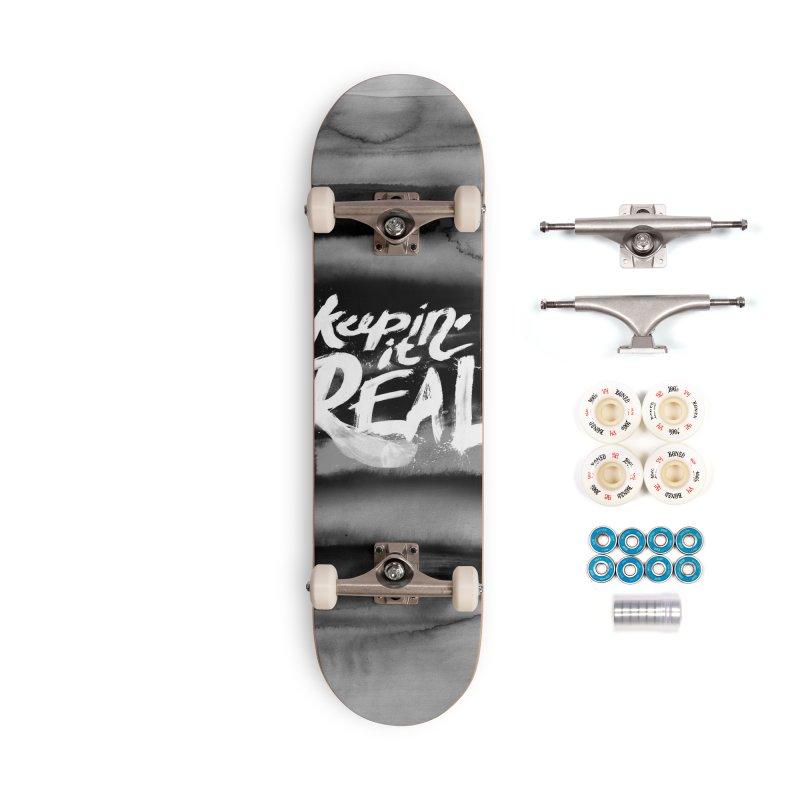 Keepin' it Real - Black & White Accessories Complete - Premium Skateboard by RJ Artworks's Artist Shop