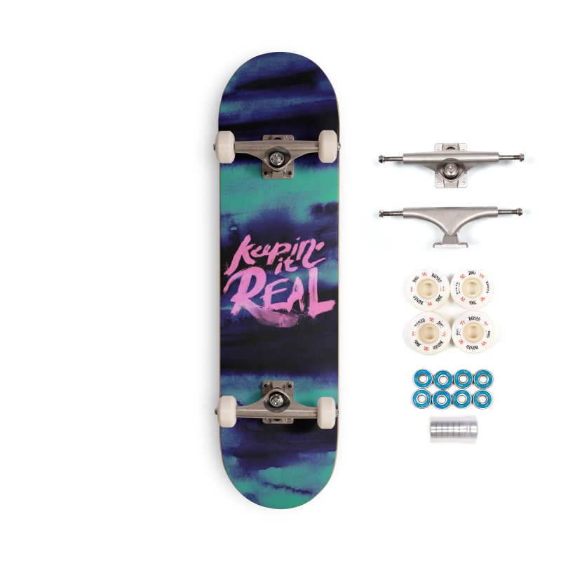 Keepin' it Real - Teal Accessories Complete - Premium Skateboard by RJ Artworks's Artist Shop