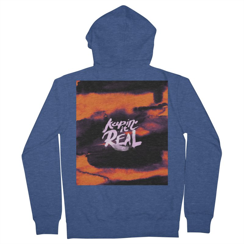 Keepin' it Real - Orange Men's French Terry Zip-Up Hoody by RJ Artworks's Artist Shop