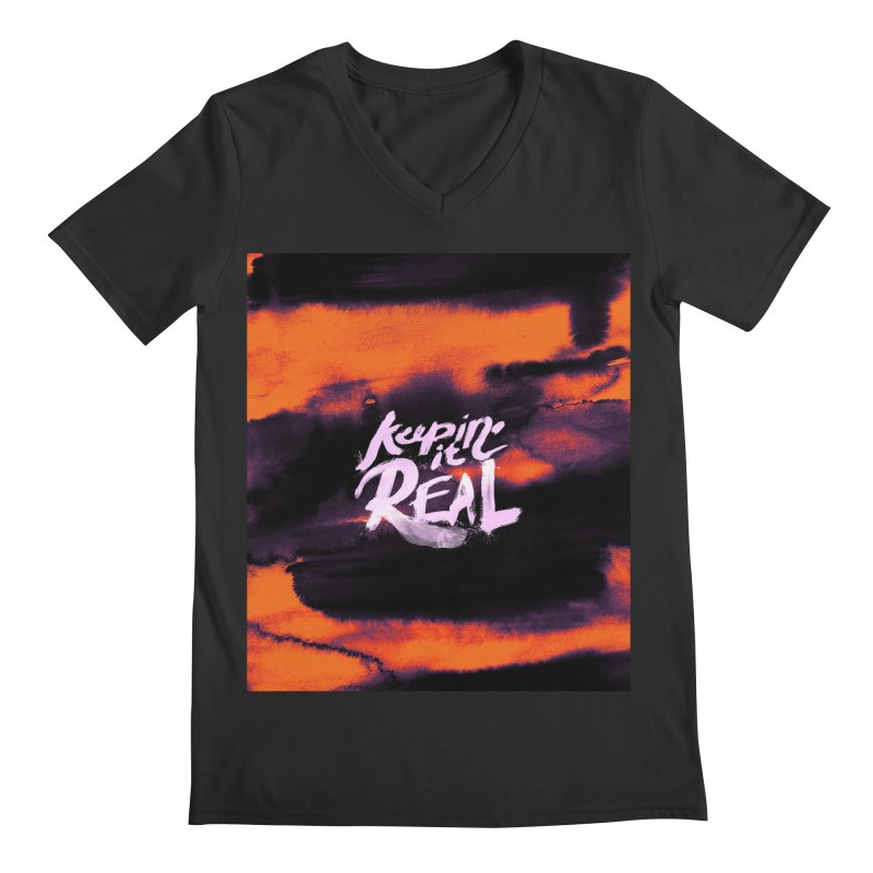 Keepin' it Real - Orange Men's Regular V-Neck by RJ Artworks's Artist Shop