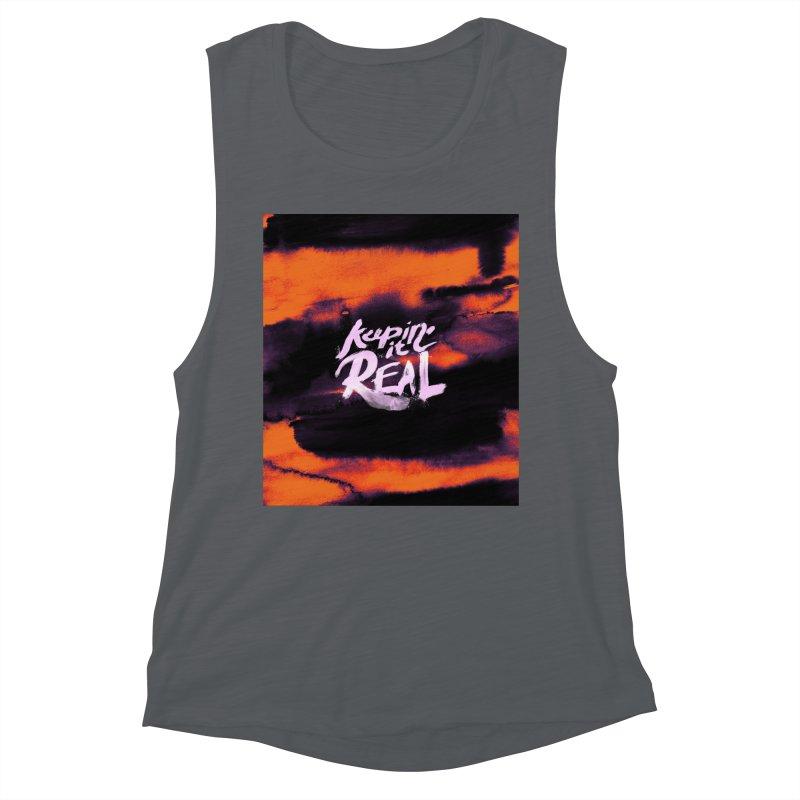 Keepin' it Real - Orange Women's Muscle Tank by RJ Artworks's Artist Shop
