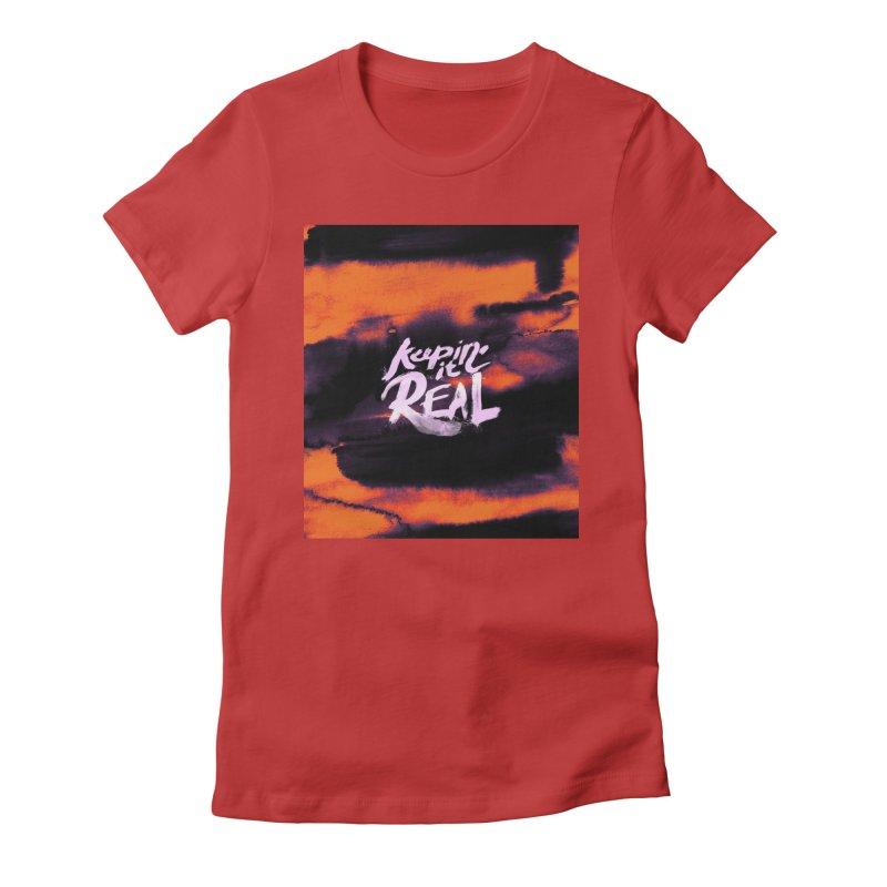 Keepin' it Real - Orange Women's Fitted T-Shirt by RJ Artworks's Artist Shop