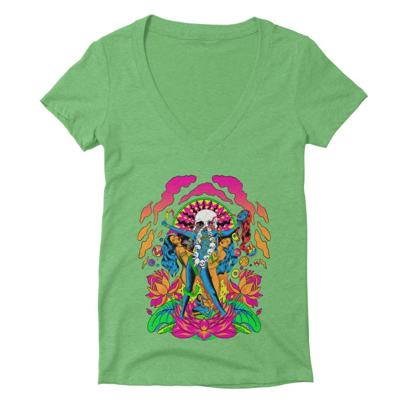 Metal Goddess Women's Deep V-Neck V-Neck by RJ Artworks's Artist Shop