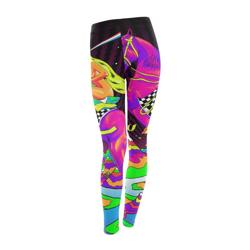 Lady Godiva - Neon Night Women's Leggings Bottoms by RJ Artworks's Artist Shop