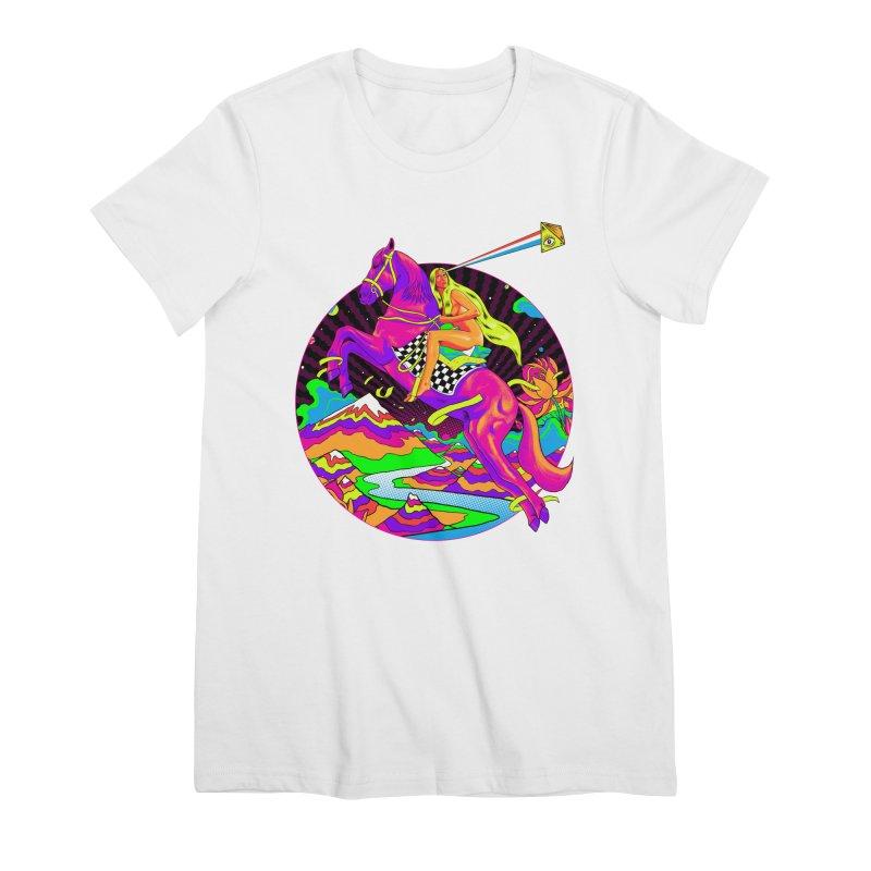 Lady Godiva - Neon Night Women's Premium T-Shirt by RJ Artworks's Artist Shop
