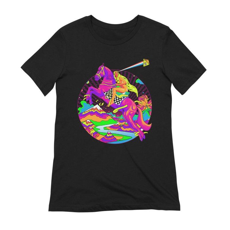 Lady Godiva - Neon Night Women's Extra Soft T-Shirt by RJ Artworks's Artist Shop