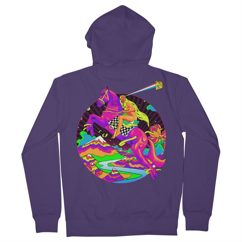 Lady Godiva - Neon Night Women's French Terry Zip-Up Hoody by RJ Artworks's Artist Shop