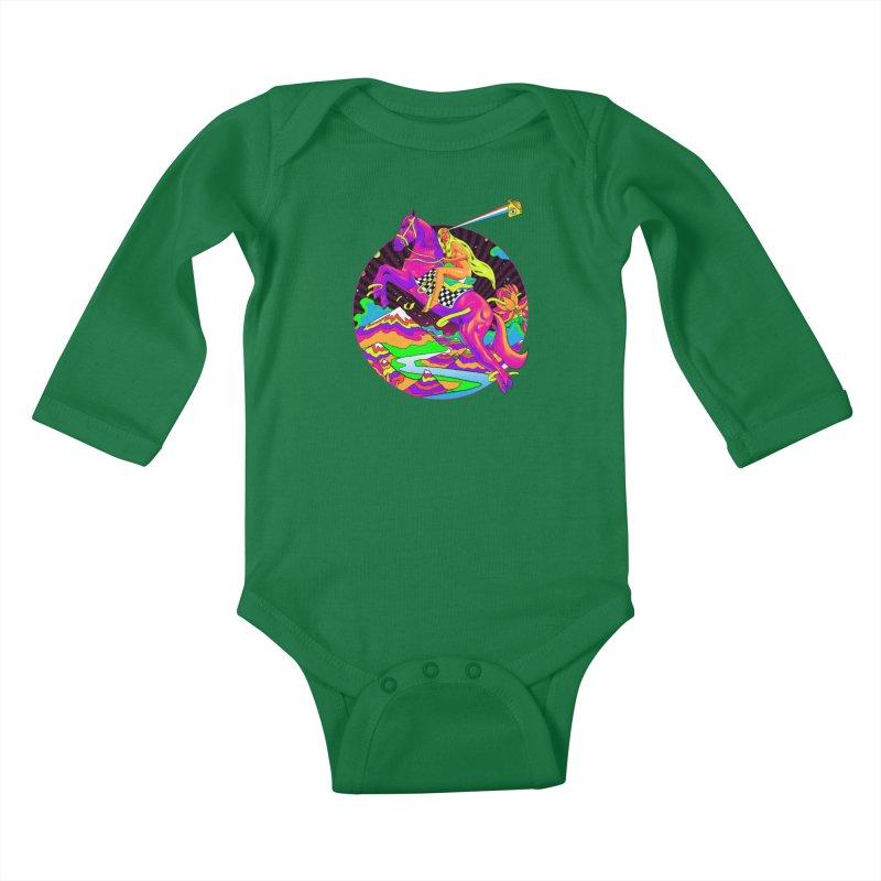 Lady Godiva - Neon Night Kids Baby Longsleeve Bodysuit by RJ Artworks's Artist Shop