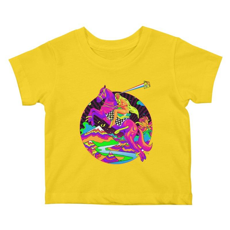 Lady Godiva - Neon Night Kids Baby T-Shirt by RJ Artworks's Artist Shop