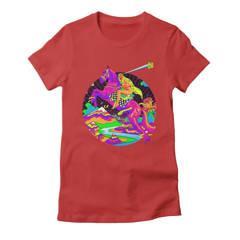 Lady Godiva - Neon Night Women's Fitted T-Shirt by RJ Artworks's Artist Shop