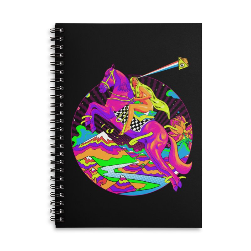 Lady Godiva - Neon Night Accessories Lined Spiral Notebook by RJ Artworks's Artist Shop
