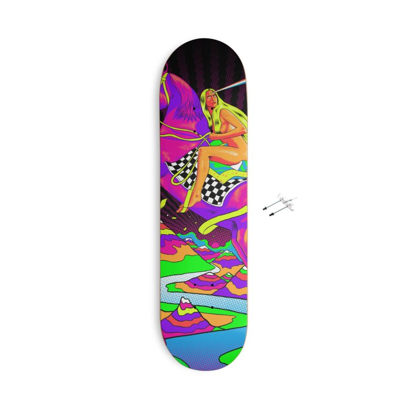 Lady Godiva - Neon Night Accessories With Hanging Hardware Skateboard by RJ Artworks's Artist Shop
